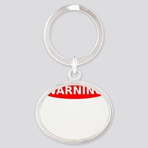 May Contain Chocolate Warning Oval Keychain