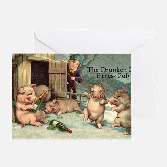Drunken Pig Fitness Pub Greeting Card