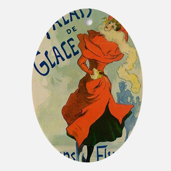 Paris Cabaret Lady in Red Poster Oval Ornament