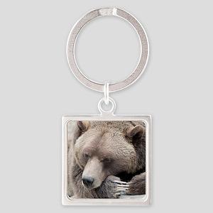 Lazy grizzly Square Keychain