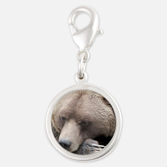 Lazy grizzly Silver Round Charm