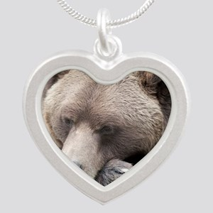 Lazy grizzly Silver Heart Necklace