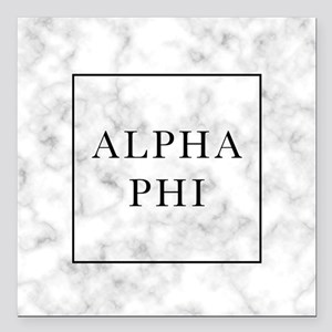 "Alpha Phi Marble Square Car Magnet 3"" x 3"""