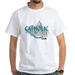 Catholic and Christian (Teal) White T-Shirt