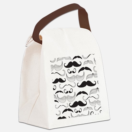 Mustache Black Canvas Lunch Bag