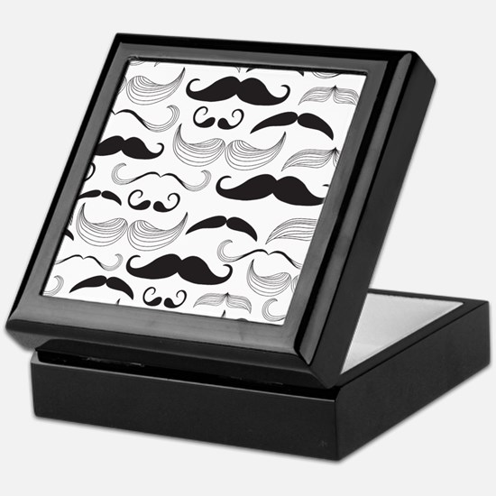 Mustache Black Keepsake Box