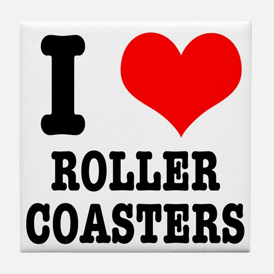I Heart (Love) Roller Coasters Tile Coaster