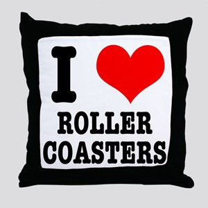 I Heart (Love) Roller Coasters Throw Pillow