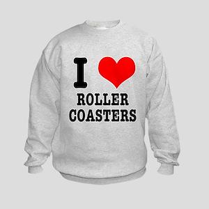 I Heart (Love) Roller Coasters Kids Sweatshirt