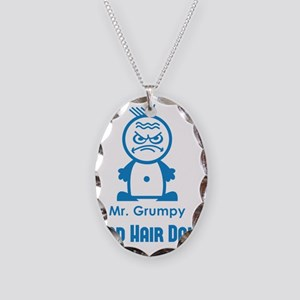 MR GRUMPY moody angry face bad Necklace Oval Charm