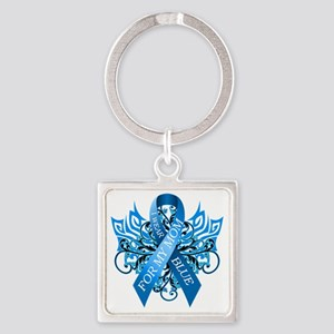 I Wear Blue for my Mom Square Keychain