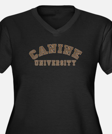Canine University Women's Plus Size V-Neck Dark T-