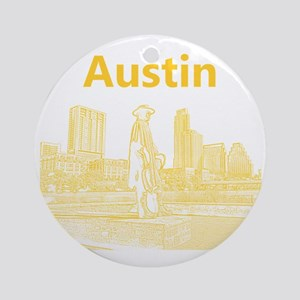 Austin_12x12_StevieRayVaughan_Yello Round Ornament