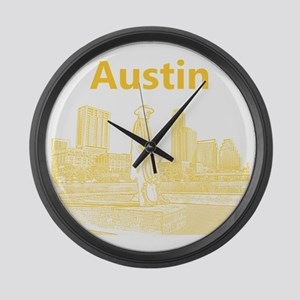 Austin_12x12_StevieRayVaughan_Yel Large Wall Clock