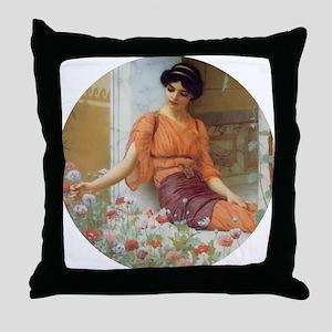 Greek Girl with Summer Flowers Throw Pillow