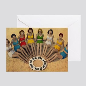 Retro Beach Beauties Greeting Card