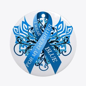 I Wear Blue for my Daughter Round Ornament