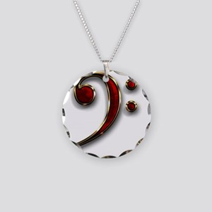 Bass Clef Necklace Circle Charm