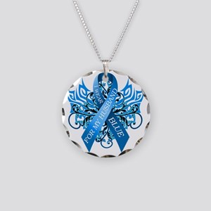 I Wear Blue for my Husband Necklace Circle Charm