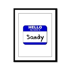 hello my name is sandy Framed Panel Print