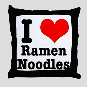 I Heart (Love) Ramen Noodles Throw Pillow