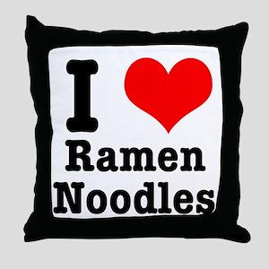 I Heart (Love) Ramen Noodles Throw Pillow