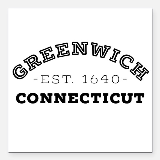 "Greenwich Connecticut Square Car Magnet 3"" x 3"""