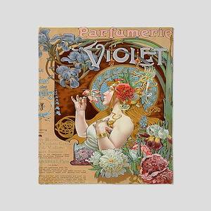 Vintage Paris Violet Perfume Throw Blanket