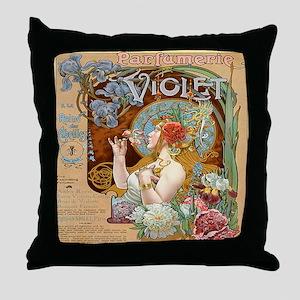 Vintage Paris Violet Perfume Throw Pillow