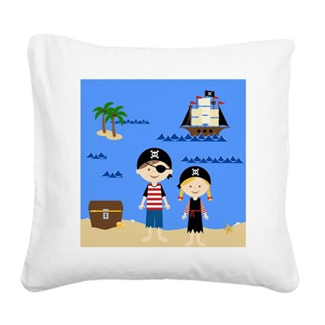 Pirate Kids Shower Curtain Square Canvas Pillow