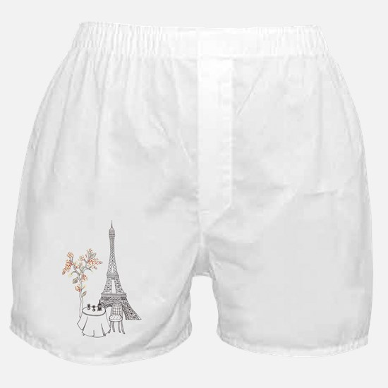 Eiffel Tower with Table and Blossom T Boxer Shorts