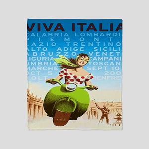 Vintage Viva Italia Poster Throw Blanket