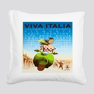 Vintage Viva Italia Poster Square Canvas Pillow