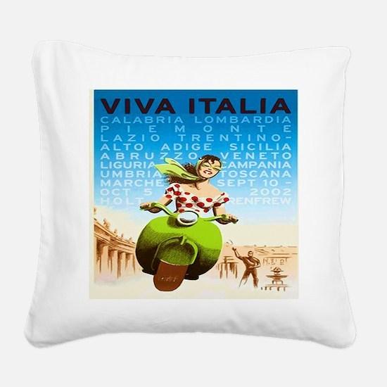 Vintage Viva Italia Poster Square Canvas Pillow