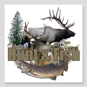 """Hunt and Fish Square Car Magnet 3"""" x 3"""""""