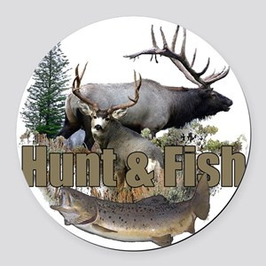 Hunt and Fish Round Car Magnet