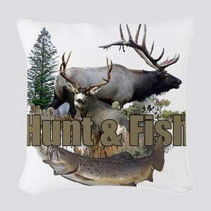 Hunt and Fish Woven Throw Pillow
