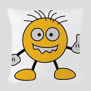 bad_finger Woven Throw Pillow