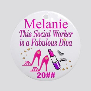 Social Worker Glam Round Ornament
