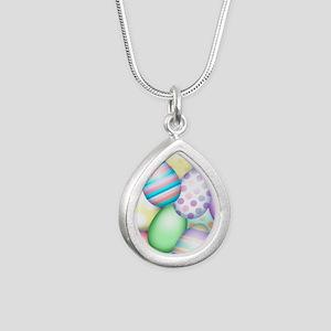 Decorated Eggs Silver Teardrop Necklace