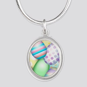 Decorated Eggs Silver Oval Necklace