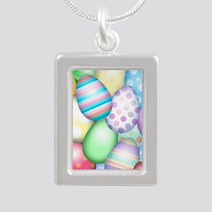 Decorated Eggs Silver Portrait Necklace