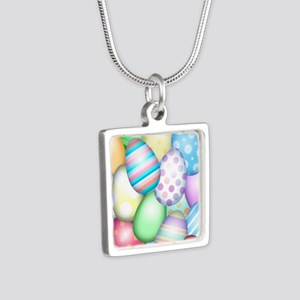 Decorated Eggs Silver Square Necklace