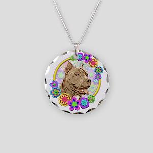 Hippie Pitbull Love Necklace Circle Charm