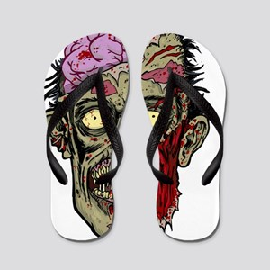 GREEN ZOMBIE HEAD WITH BRAINS--ROTTEN!! Flip Flops