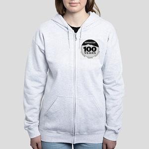 100th logo Black solid Women's Zip Hoodie