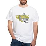 Catholic and Christian (Gold) White T-Shirt