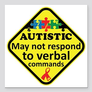 """Autistic Square Car Magnet 3"""" x 3"""""""