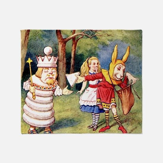 Alice THE WHITE KING_SQ Throw Blanket