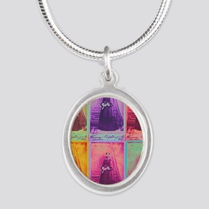Florence Nightingale Colors 1 Silver Oval Necklace